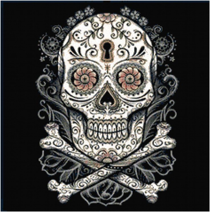 Dark Sugar Skull Cross Stitch Printable Needlework Pattern - DIY Crossstitch Chart, Relaxing Hobby, Instant Download PDF Design
