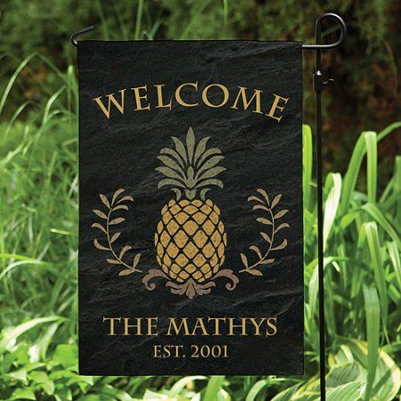 Personalized Pineapple Welcome Garden Flag, Black