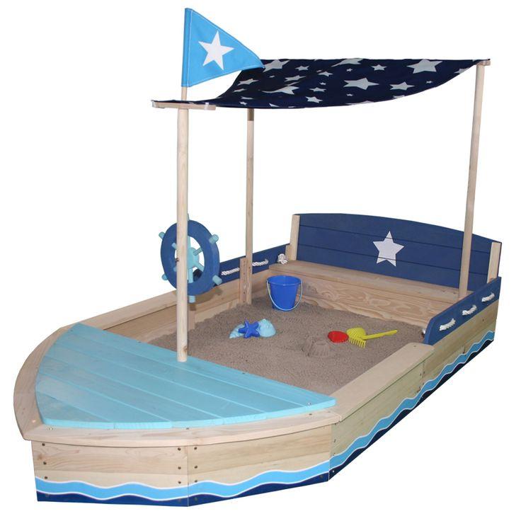"""Sun Sandkasten Sternen-Schiff • aus Holz gefertigt, massiv, hochwertiger Druck  • Staufach, Sitzfläche, Sitzbank  • Dachsegel """"Sternenhimmel"""" aus Polyester  • Flagge, Kordel, Steuerrad drehbar  • Sandkastenvlies, Abdeckplane aus PP"""
