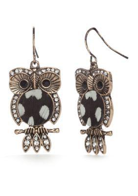 Red Camel  Gold-Tone Spirit Animal Owl Drop Earrings