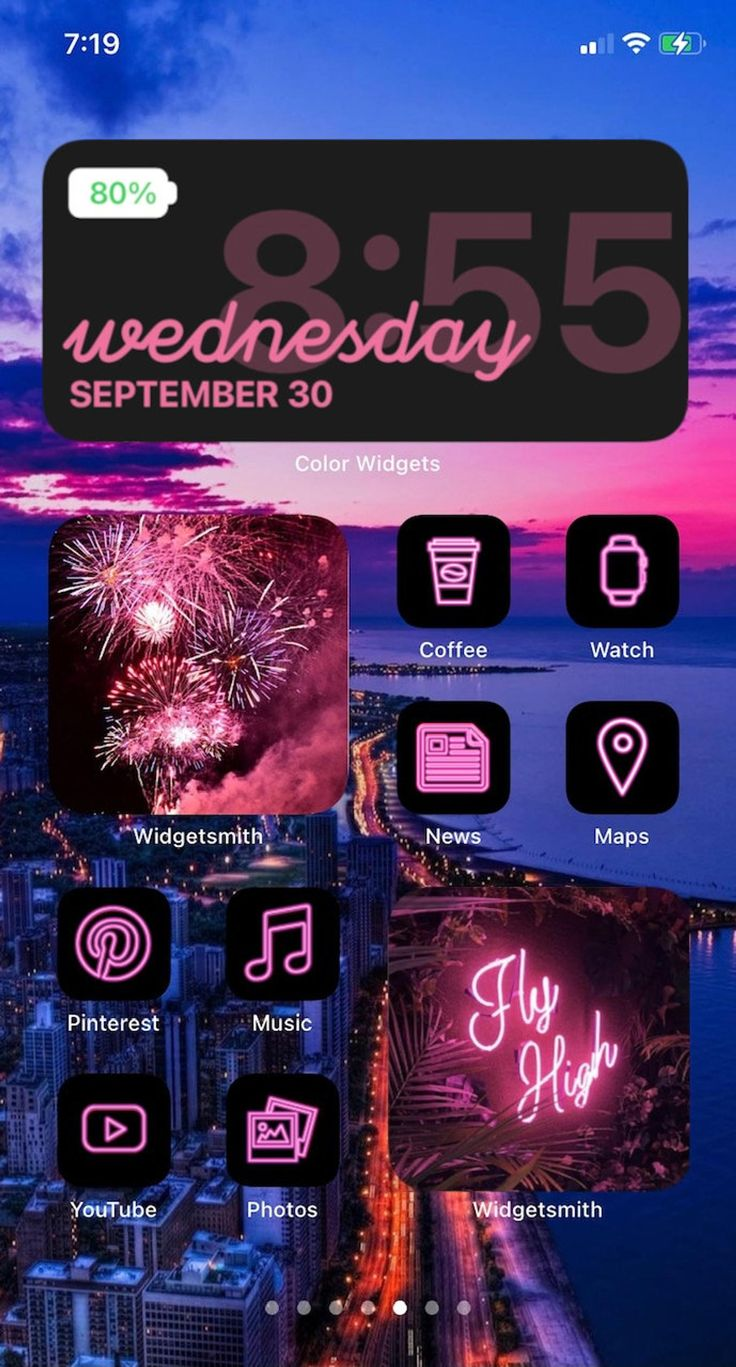 Pink iOS 14 App Icon Pack Neon Aesthetic iOS 14 Icons