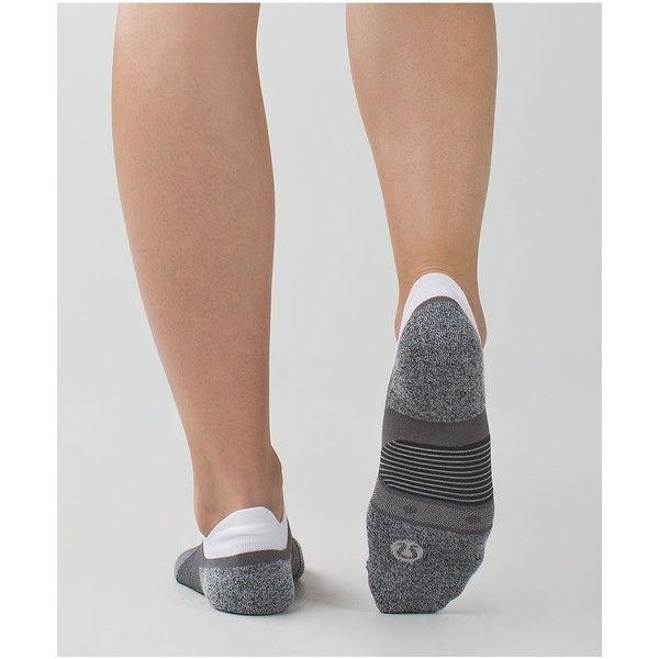 lululemon Speed Sock *Silver ($18) ❤ liked on Polyvore featuring intimates, hosiery, socks, slate, lululemon, low socks, moisture wicking socks, silver socks e lululemon socks
