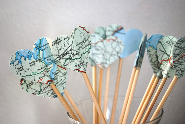 Hearts on Stick: outdoors, put on path.  For travel party toothpicks or centerpiece picks.
