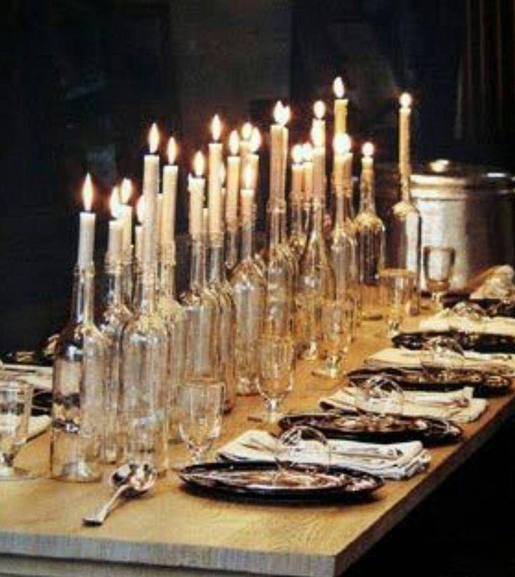 B O T T L E S || Can't wait to create a look from this inspiration, I'm obsessed with candlelight and the glass bottles create a beautiful warmth. If you need me, I'll be removing labels from bottles! Pinterest 📸 || #onestylishday #weddingdecor #weddingstylist #eventprofs #stylishbride #creativewedding #imgettingmarried #ukwedding #stylishwedding #birthday #celebration #uniqueevents #weddingplanner #partyplanner #eventstylist #bridetobe #weddingplanner #details #coolbride #beunique…
