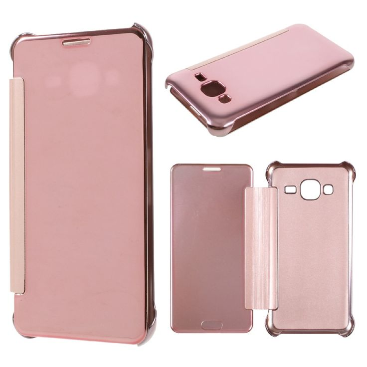 Cover for Samsung Galaxy J3 Cover Shell Plated Mirror Surface PC Leather Cell Phone Case for Samsung Galaxy J 3 (2016) Case Bag