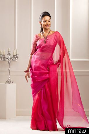 Vibrant shaded silk Kota saree with a thin zari border Pink silk brocade