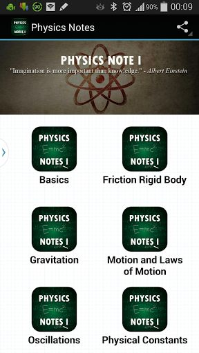 Physics Notes I<p>The Physics Notes I is an Android app that cover all the popular physics topic for students.<p>The app will be aggregation of definitions and formulas for students in most systematically<br>The app covers:<br>1) Basics of Physics<br>2) Units, dimensions and physical constants.<br>3) Motion in one, two three dimensions.<br>4) Laws of motion, Circular, Relative and projectile motion.<br>5) Friction, dynamics of rigid bodies.<br>6) Gravitation<br>7) Work, Energy and…