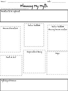 a free organizer to help your students write a myth