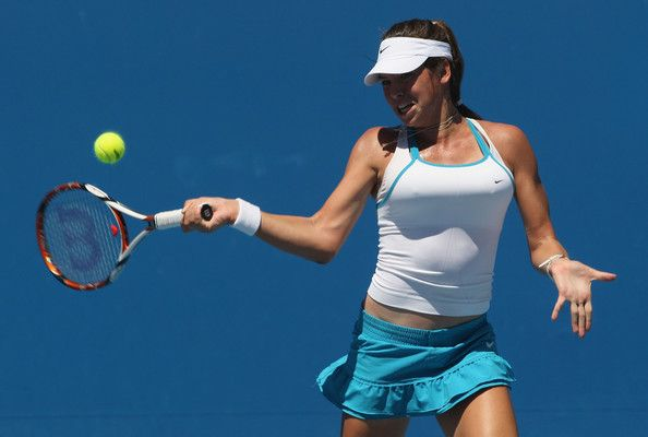 Ajla Tomljanovic Photos Photos - Ajla Tomljanovic of Croatia plays a forehand in her junior girls match against Brittany Sheed of Australia  during day seven of the 2009 Australian Open at Melbourne Park on January 25, 2009 in Melbourne, Australia.  (Photo by Mark Dadswell/Getty Images) * Local Caption * Ajla Tomljanovic - 2009 Australian Open: Day 7