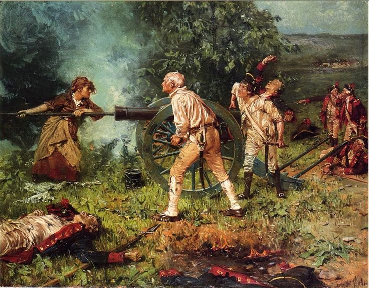 Molly Pitcher at The Battle of Monmouth, 1778-by Franz Ludwig Catel: The weather was hot, over 100 degrees Fahrenheit. Sometime during the battle, William Hays collapsed, either wounded or suffering from heat exhaustion. It has often been reported that Hays was killed in the battle, but it is known that he survived.