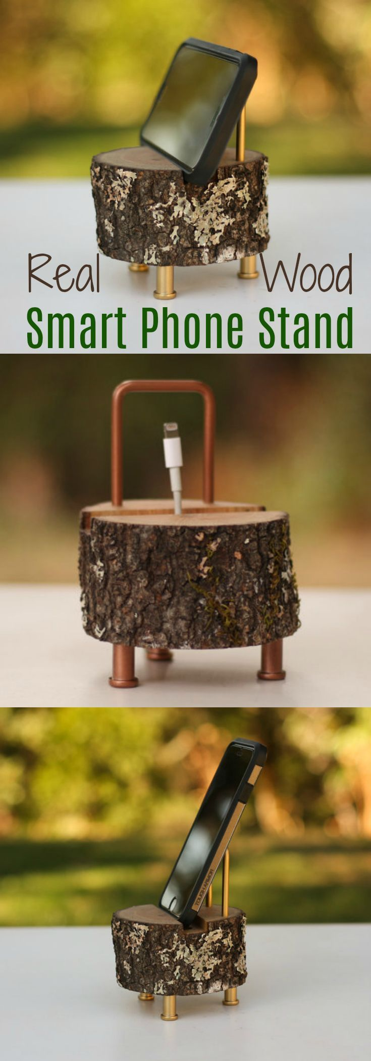 Rustic Smart Phone Stand Iphone 7 Iphone 6 Iphone 5 Charging Station Sound Amplifier Log charging Dock Wood Dock Cell Phone Dock Smart phone. Fabulous gift idea. Perfect cabin/rustic/log home decor. #smartphone #Loghome #rustic #Chargingstation