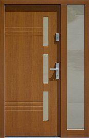Drzwi zewnętrzne z doświetlem dostawką boczną model  470,2 w kolorze złoty dąb