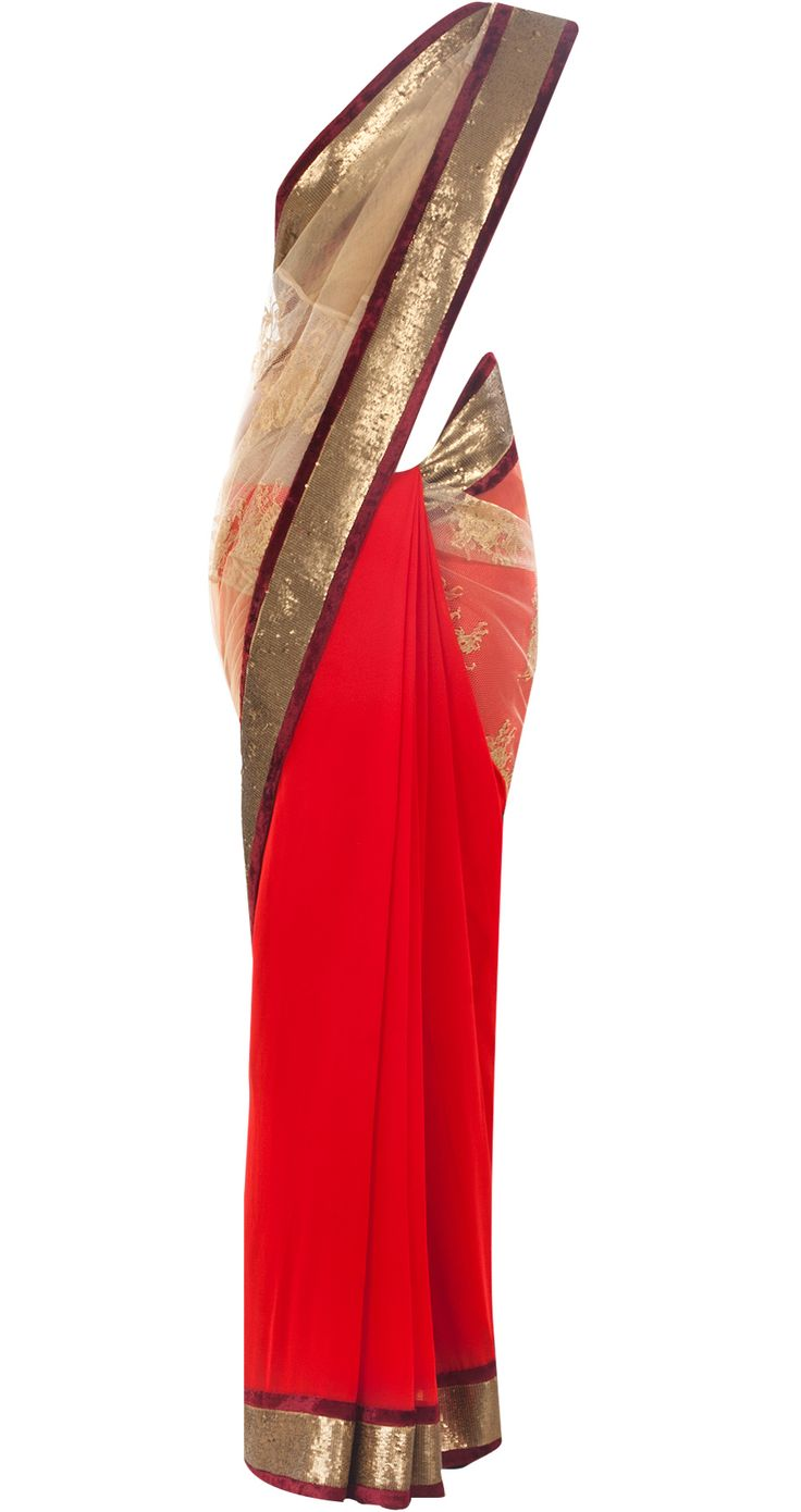 Red and gold chantilly lace sari by VARUN BAHL. Shop at http://www.perniaspopupshop.com/whats-new/varun-bahl-7029