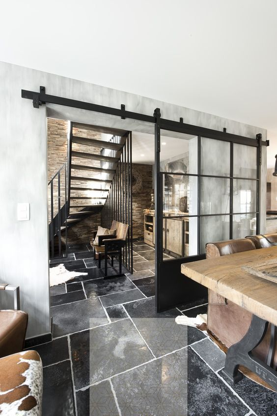 Schiebetür LOFT FRENCH Stahl Glas/Holz Industrial…