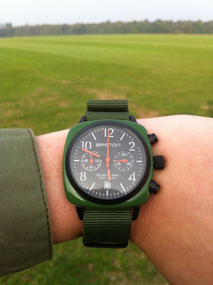 Ma #briston #vert militaire à la #campagne #green #polo #watch