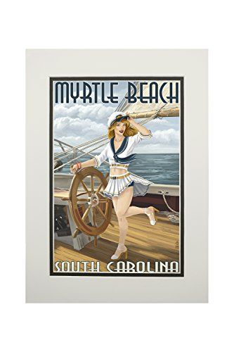 Myrtle Beach, South Carolina - Pinup Girl Sailor (11x14 Double-Matted Art Print, Wall Decor Ready to Frame)