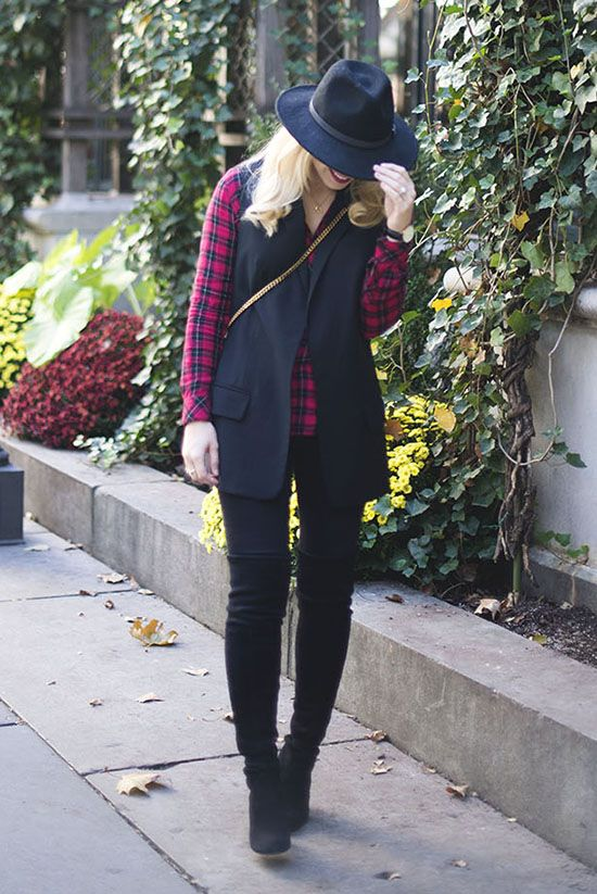 fall / winter - street style - street chic style - casual outfits - fall outfits - black fedora + red plaid shirt + black long vest + black skinny jeans + black over the knee boots + black shoulder bag