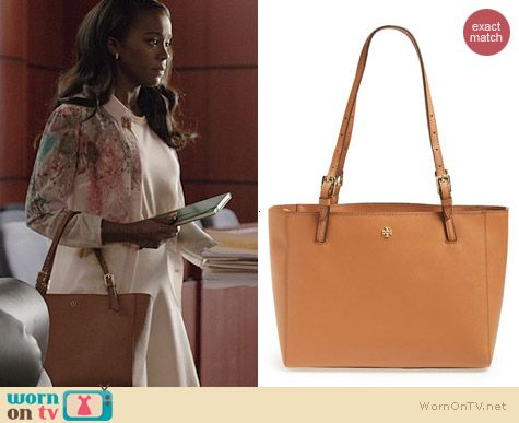 Michaela's tan bag on How to Get Away with Murder.  Outfit Details: http://wornontv.net/38052/ #HTGAWM