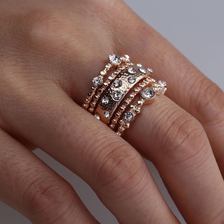 Fashion Crystal Rose Gold Stackable Ring 5 Sparkly Rings Boho Jewelry 5Pcs/Set   | eBay
