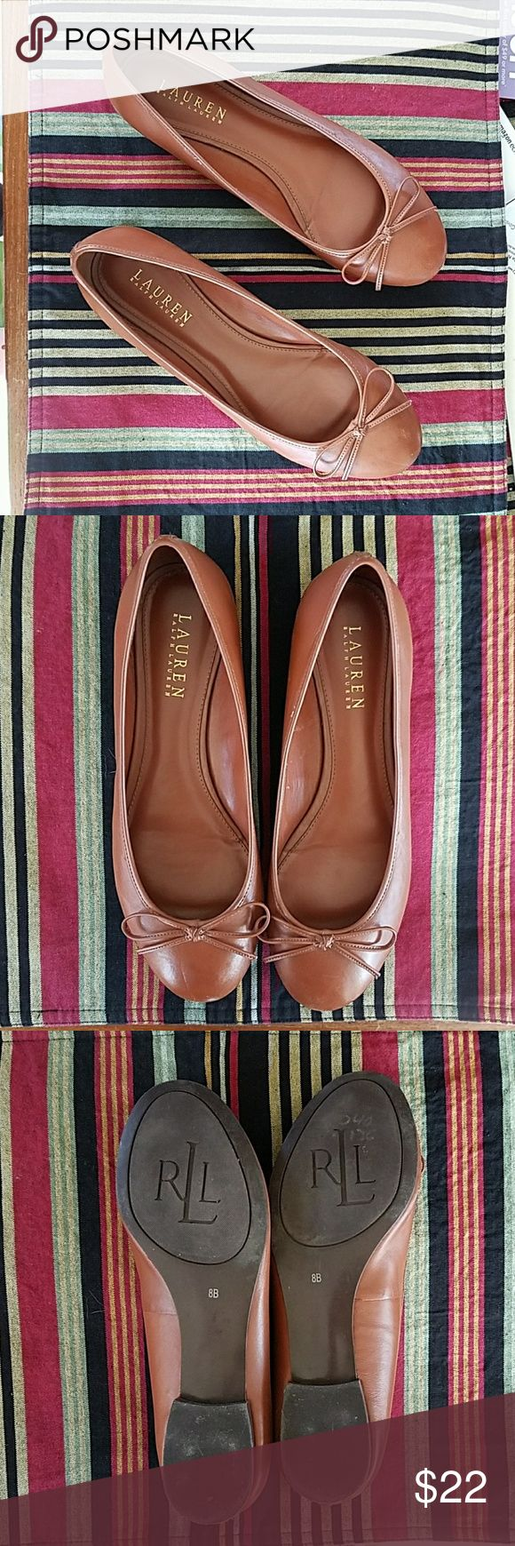 Lauren Ralph Lauren ballet  flats camel  8B These  ballet  flats are in excellent condition,  gently used.  They are very clean and show very little wear. Lauren Ralph Lauren Shoes Flats & Loafers