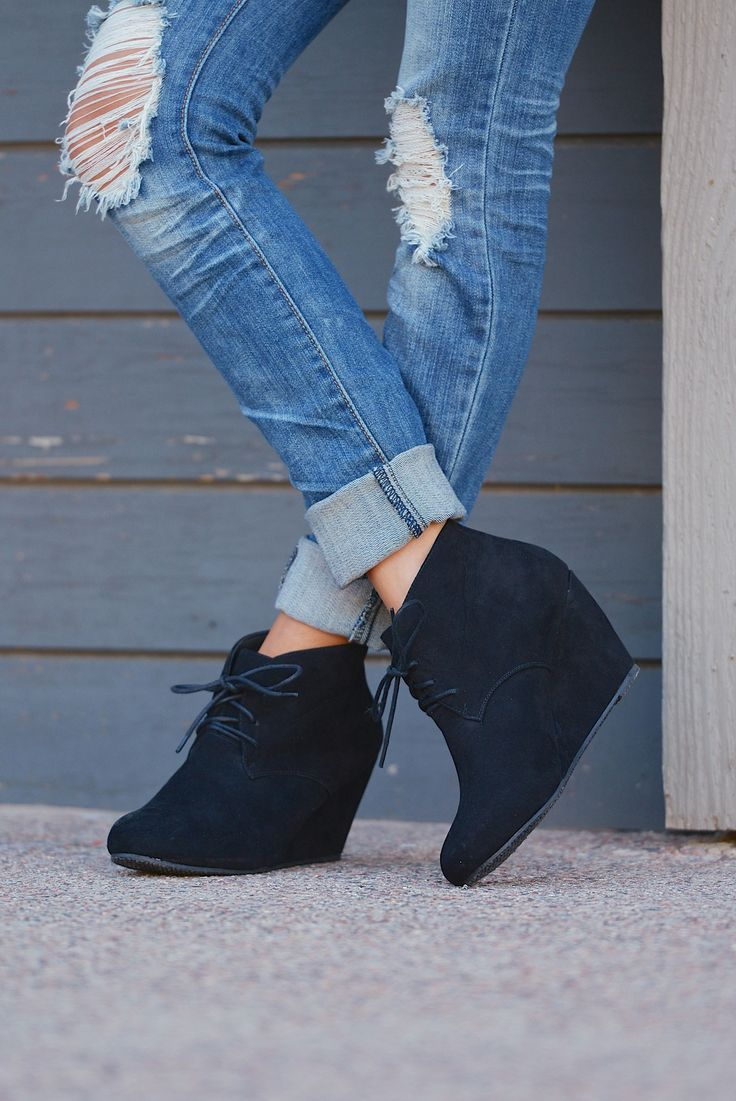 Wedge Booties - Black