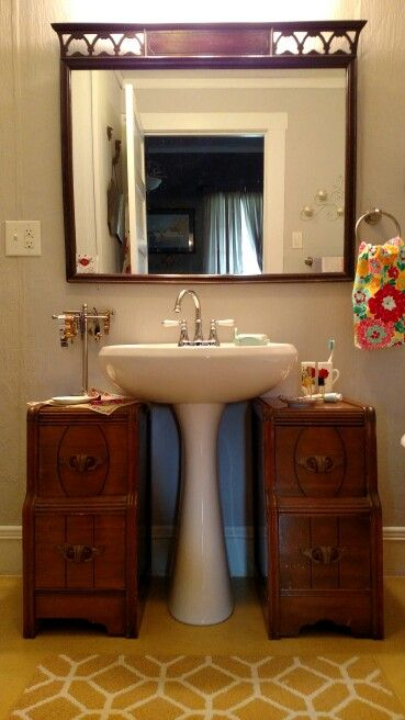 Storage Solution For A Pedestal Sink! We Used The Two Ends Of A Vintage  Vanity