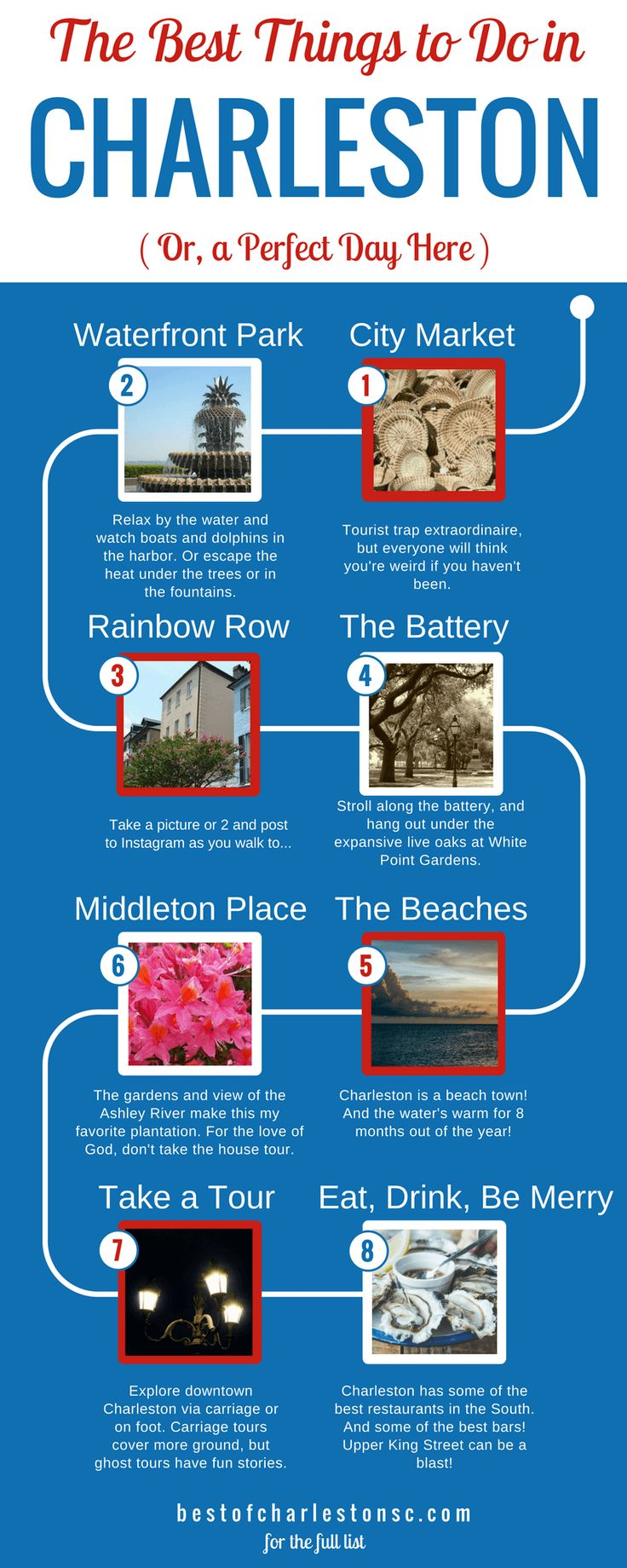 A guide to a perfect day in Charleston, South Carolina. Start with downtown attractions like: the Historic Charleston City Market, Waterfront Park, Rainbow Row, and the Battery. Then head to Charleston beaches like Folly Beach or Sullivan's Island before heading to one of the Charleston plantations, like Middleton Place. Afterwards, take a tour back downtown (either carriage ride or ghost tour) before ending the night with a fantastic meal and a drink or two on King Street.