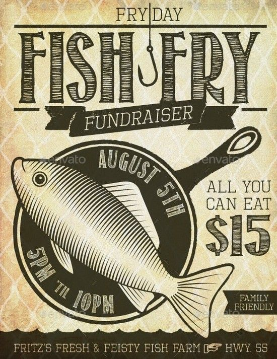 fish fry event fundraiser poster  flyer or ad