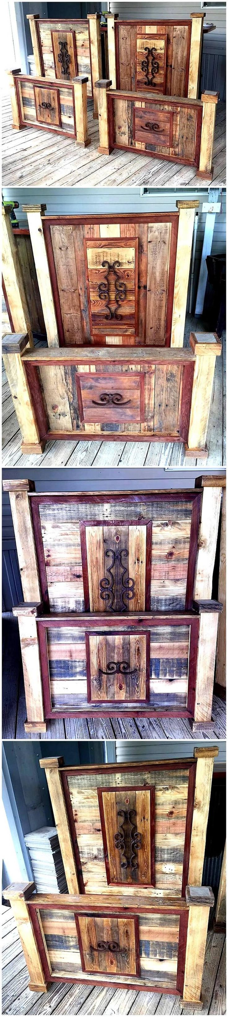 Pallet wood bed frame is unique idea by reusing wood pallets.Customizing is always in fashion and it is very smart to craft something that you can place at your unused space or a something of your domestic utility that you need on daily basis.  #headboard #palletheadboard #pallets #woodpallet #palletfurniture #palletproject #palletideas #recycle #recycledpallet #reclaimed #repurposed #reused #restore #upcycle #diy #palletart #pallet #recycling #upcycling #refurnish #recycled #woodwork