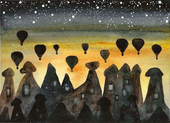 Orijinal Suluboya Resim Kapadokya Sunrise Sicak Hava Balonlari