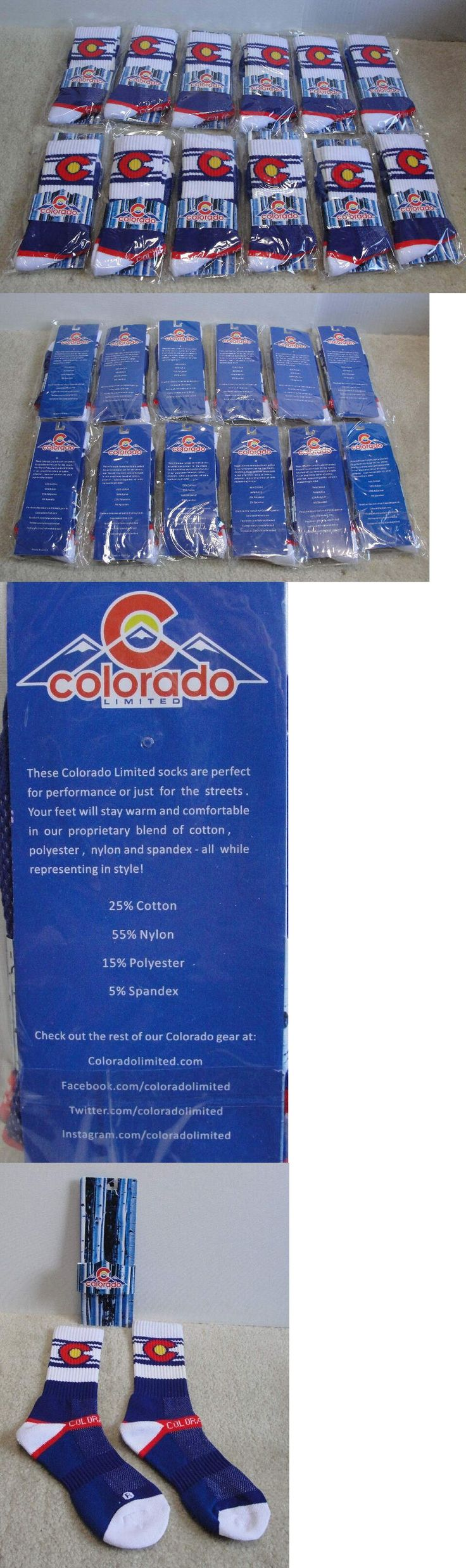 Socks 166695: 12 Pairs Of Colorado Flag Colorado Limited Adult Crew Socks New -> BUY IT NOW ONLY: $49.99 on eBay!