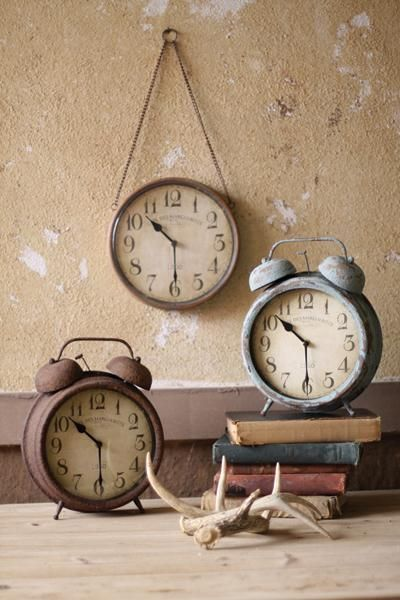 Vintage looking metal alarm clocks
