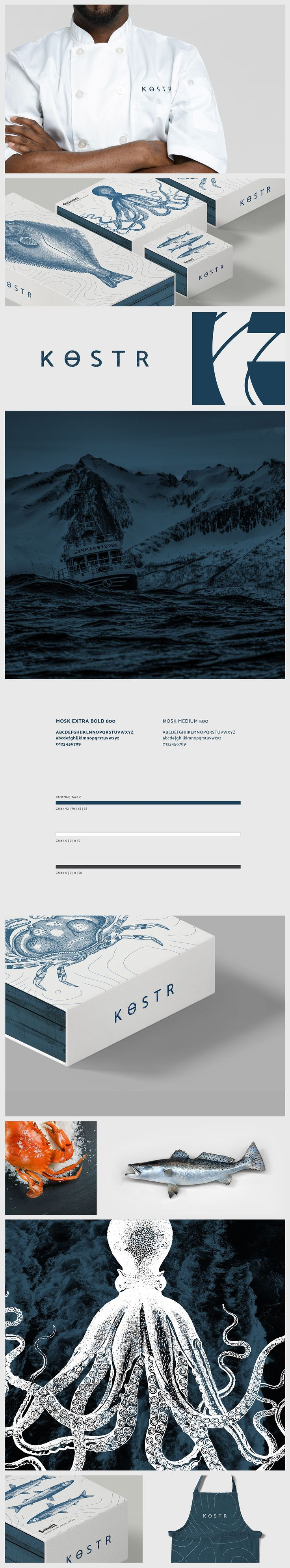 Kostr is a Nordic brand of fresh seafood. The meaning of Kostr in Old Norse is quality and thus prioritizes quality over all else. The topography of the ocean is a focal point of the branding. Each package states the waters the fish were caught in, as wel…