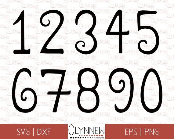 Fancy Numbers Svg Printable Numbers 0 9 Black Handwritten Etsy Fancy Numbers Fun Number Fonts Printable Numbers
