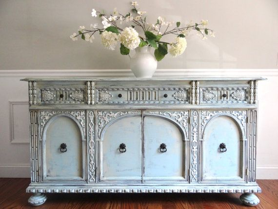 Lovely RESERVED For Nichole   Antique Ornate Jacobean Hand Painted French Country  Shabby Chic Romantic Victorian Pastel Blue Green Aqua Buffet