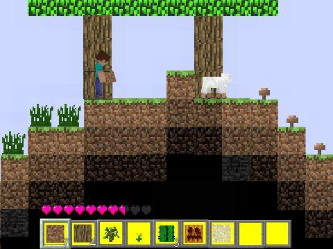 En este juego online Minecraft Flash para los niños hay que cavar bloques, piedras y hierba