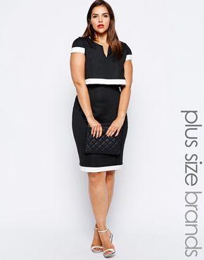 Image 1 ofLipstick Boutique Plus 2 in 1 Cape Pencil Dress