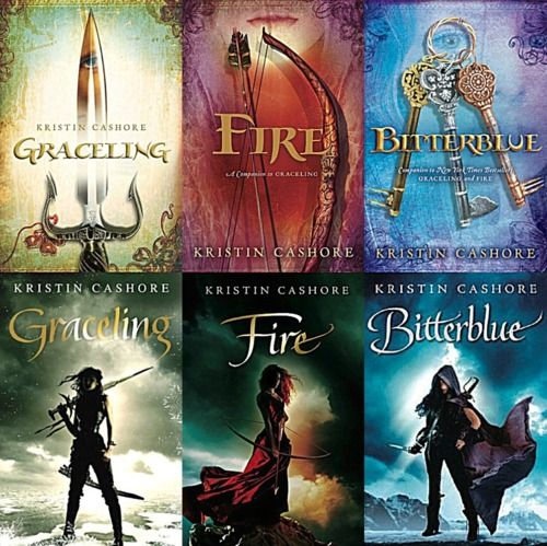 Graceling series by Kristin Cashore - Currently own all of the top designs! Great series :)
