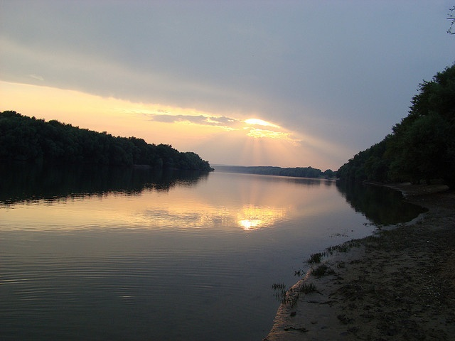 Sunset on the Danube near Desa, Dolj, Romania