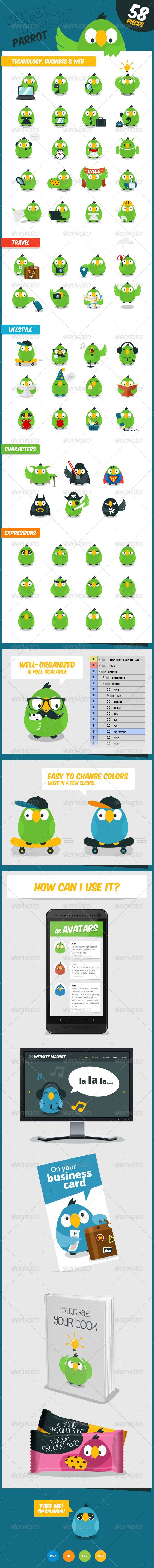Parrot  Vector Website Mascot — Photoshop PSD #funny #travel • Available here → https://graphicriver.net/item/parrot-vector-website-mascot/7742975?ref=pxcr