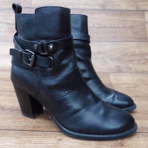SIZE-UK-5-MARKS-amp-SPENCER-AUTOGRAPH-INSOLIA-BLACK-LEATHER-HEELED-ANKLE-BOOTS