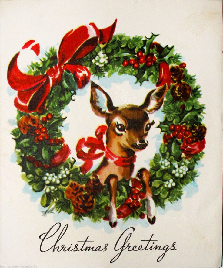 321 best Christmas Deer 2 images on Pinterest  Vintage christmas
