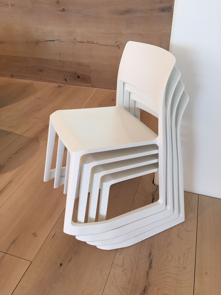 @Vitra white Tip Ton chairs stacked