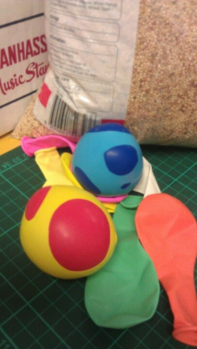 Homemade stressballs made with balloons, freezerbag and birdseed