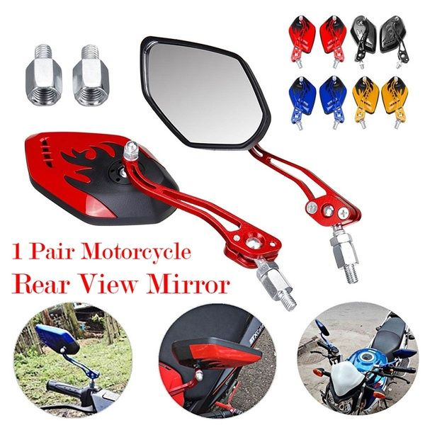 Universal Red Motorcycle Motorbike Rearview Rear View Side Mirror 8mm 10mm Pair