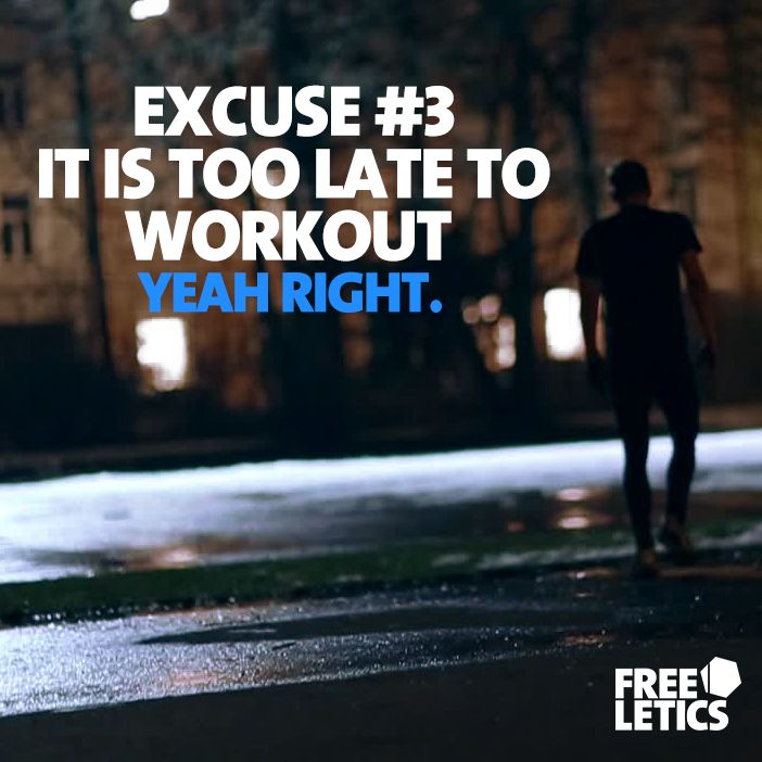 It is never too late to work out. Never. Working long hours is not an excuse. Darkness is not an excuse. Being alone on your journey is not an excuse. If you base your journey on excuses you might be able to muddle through life, but you will never stand out of the crowd. #noexcuses start working on your success ►►► www.frltcs.com/NoEx #Freeletics