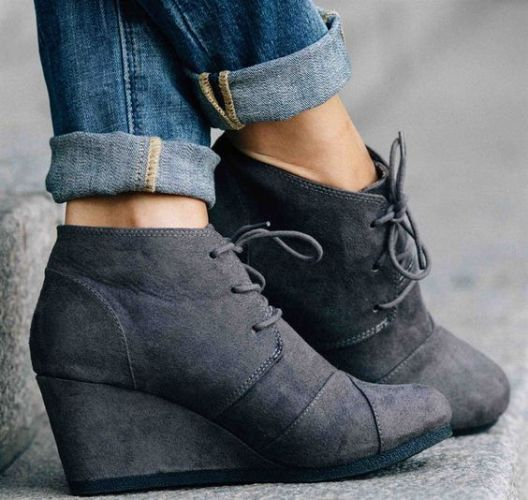 dark gray wedge ankle boot