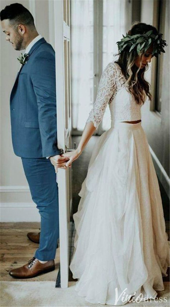 Two-piece boho wedding ceremony gown with 3/four sleeves.
