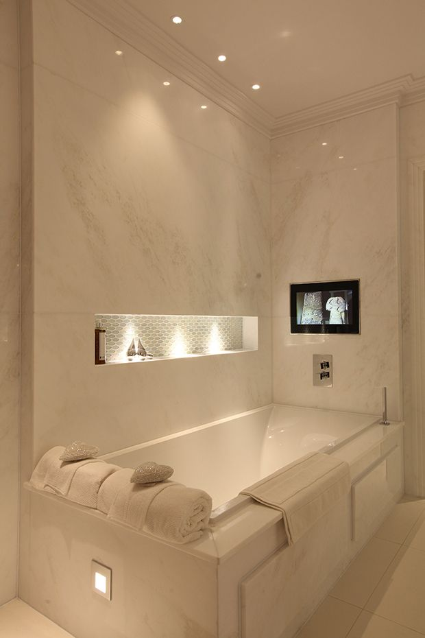 Bathroom Lighting Design Love The Range Of Lighting At Various Levels.  Niche Lighting And Reflected Glow Around Bath.