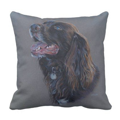 Engish Cocker Spaniel dog. Fine art painting. Throw Pillow - decor gifts diy home & living cyo giftidea